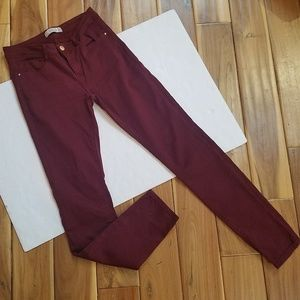 ZARA Trafalic Burgundy Skinny Jeans